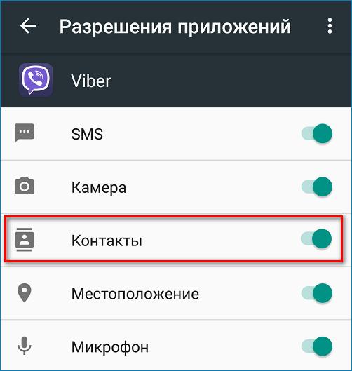 Доступ к контактам Viber